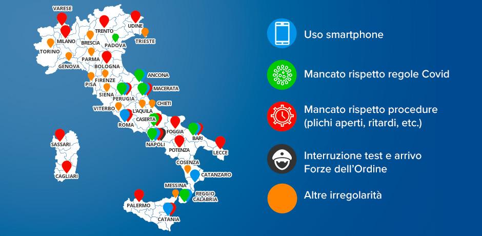 Mappa delle irregolarità in tutta Italia